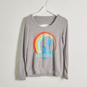 Chaser Good Vibes Pullover Open Back Sweatshirt